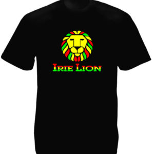 Green Yellow Red Irie Lion Black Tee-Shirt