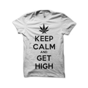 Rasta Tee-Shirt Shirt Keep calm and smoke weed white