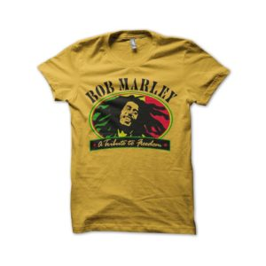 Rasta Tee-Shirt T-Shirt Bob Marley Tribute to Freedom yellow