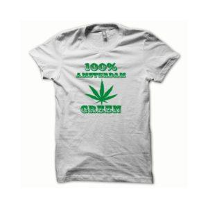 Rasta Tee-Shirt T-shirt Marijuana Hemp Amsterdam green white