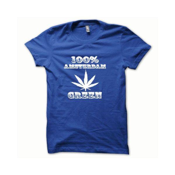 Rasta Tee-Shirt T-shirt Marijuana Hemp Amsterdam white blue
