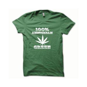 Rasta Tee-Shirt T-shirt Marijuana Hemp Amsterdam white green