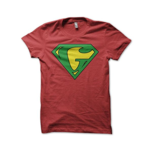 Rasta Tee-Shirt T-shirt Superman parody Ganjaman red