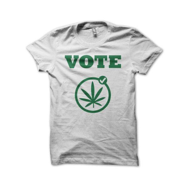 Rasta Tee-Shirt T-shirt cannabis vote weed white