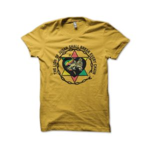 Rasta Tee-Shirt T-shirt the lion of judah yellow