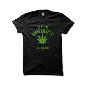 Rasta Tee-Shirt Tee Shirt University Weed cannabis Black
