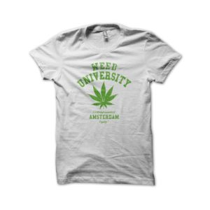 Rasta Tee-Shirt Tee Shirt University Weed cannabis White