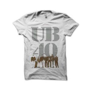 Rasta Tee-Shirt UB40 silver shirt and brown on white