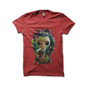 Rasta Tee-Shirt UFO shirt rasta smoke join her red