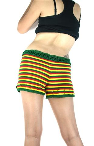 Shorts Rasta Knitted Green Yellow Red