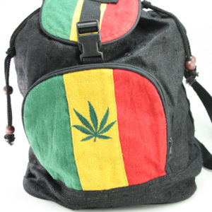 Backpack Hemp Organic Natural Fair Trade Cannabis Green Yellow Red Black