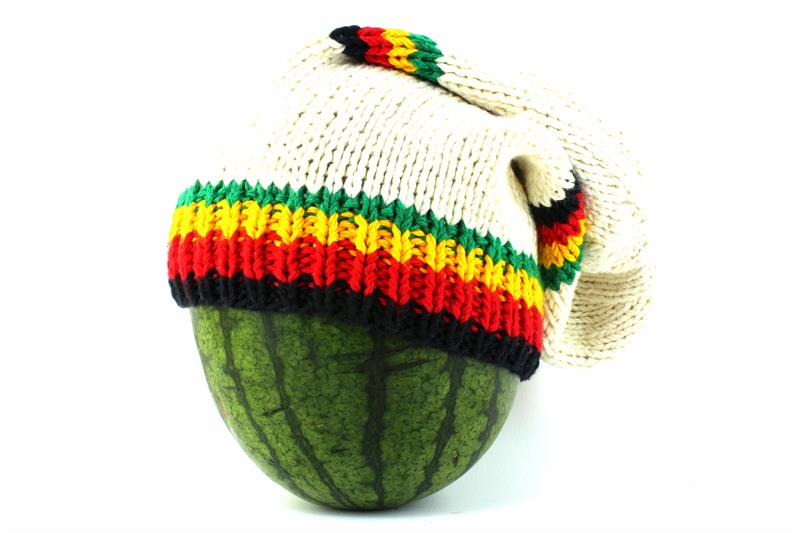 cf75ef0067f Beanie White Long Forehead And Middle Stripes Green Yellow Red Black ...