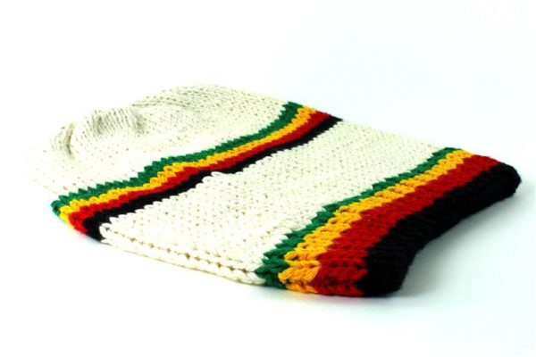 Beanie White Long Forehead and Middle Stripes Green Yellow Red Black
