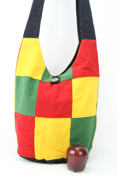 Bag Roots Beach Small Size Shoulder Button Green Yellow Red