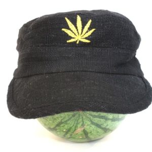 Cap Hemp Black Cannabis Leaf Gold