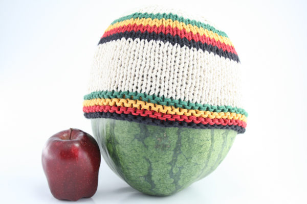 Beanie White Short Forehead and Middle Stripes Green Yellow Red Black