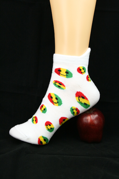 Low-cut Socks White Smiley All Sizes