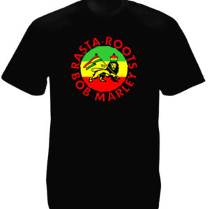 Bob Marley Rasta-Roots Black T-shirt Short Sleeves Rastafari Lion