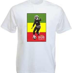 Bob Marley Soccer White T-shirt Short Sleeves Green Yellow Red Flag