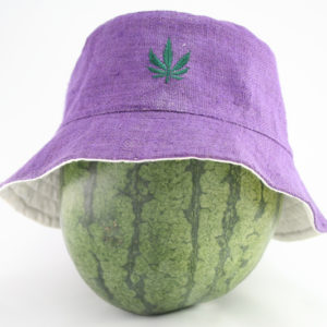 Bucket Hat with Cannabis Leaf on Front Purple Color