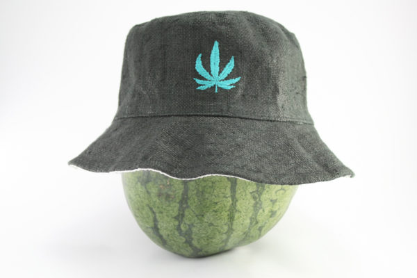Bucket Hat Black Cannabis Leaf