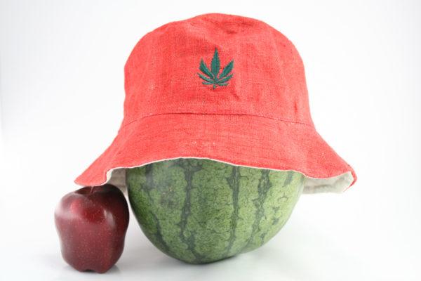 Bucket Hat Red Cannabis Leaf