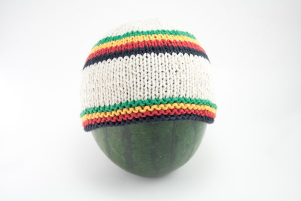 Rasta Beanie Short Handknitted White Bonnet with Green Yellow Red