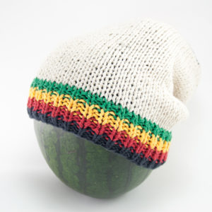 Beanie White Long Small Stripes Green Yellow Red Black