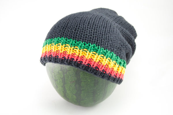 Beanie Black Long Forehead and Top Stripes Green Yellow Red Black