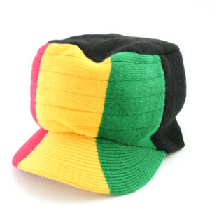 Cap Black Hiphop Large Green Yellow Red Stripes