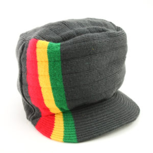 Cap Black Hiphop Side Green Yellow Red Stripes