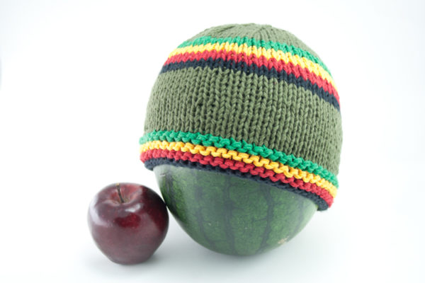 Beanie Green Short Forehead and Middle Stripes Green Yellow Red Black