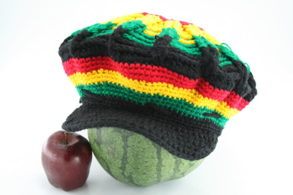 Tam Rasta Visor Spider Pattern Green Yellow Red