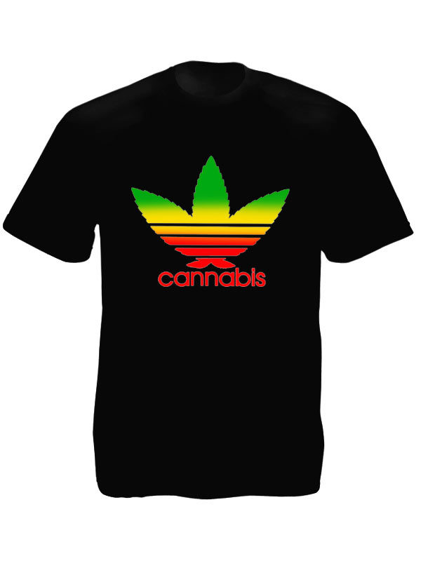 Cannabis Adidas Black T-shirt Short Sleeves Rasta Colors Logo