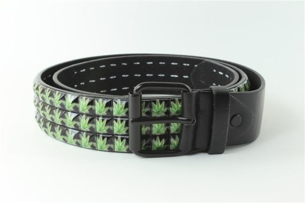 Cannabis Belt Faux Leather Cannabis Leaves
