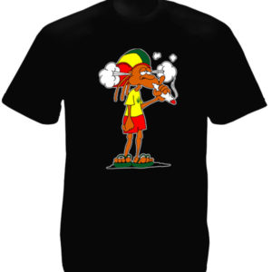 Cartoon Rastaman smoking Joint Black T-shirt Short Sleeves