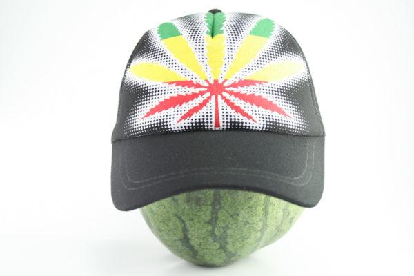Cap Black Color Rasta Marijuana Leaf