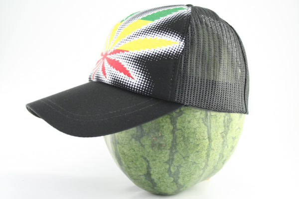 Cap Black Color Rasta Marijuana Leaf