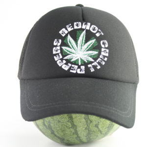 Cap Black Color Rasta Ganja Leaf