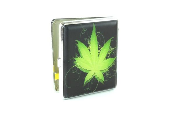 Cigarette Case Black Green Cannabis Leaf