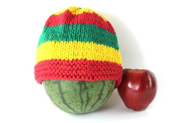 Beanie Short Large Stripes Green Yellow Red