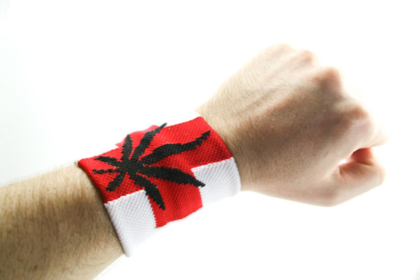 Wristband White Red Cross Black Leaf