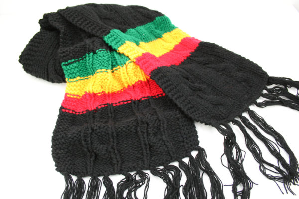 Scarf Black with Green Yellow Red Stripes