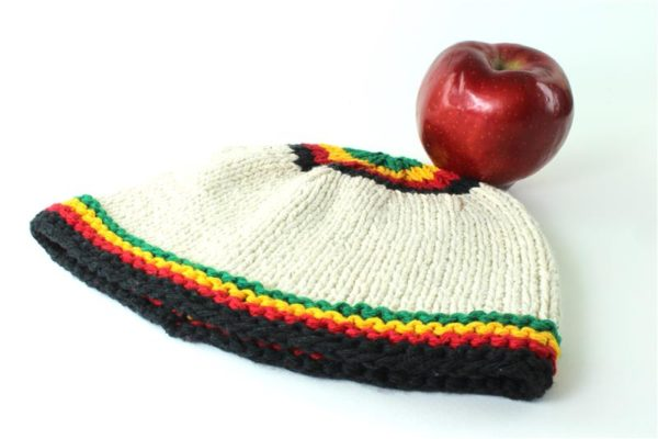 Beanie White Short Small Stripes Green Yellow Red Black