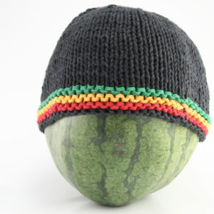 Beanie Black Short Forehead Stripes Green Yellow Red Black