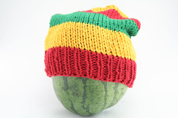 Beanie Long Large Stripes Green Yellow Red