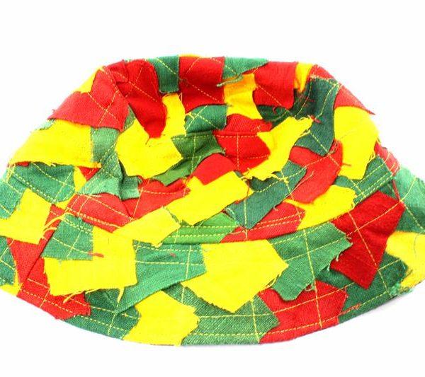 Hat Bucket Style Rasta Colors Fishing Hat Patchwork