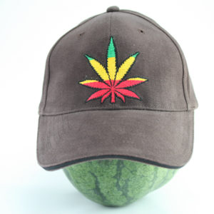 Cap Brown Color Rasta Cannabis Leaf