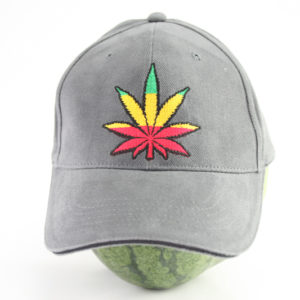 Cap Grey Color Rasta Cannabis Leaf