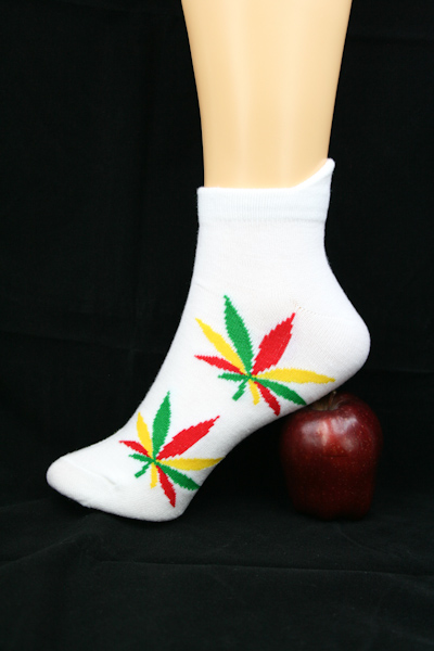 Low-cut Socks White Cannabis All Sizes